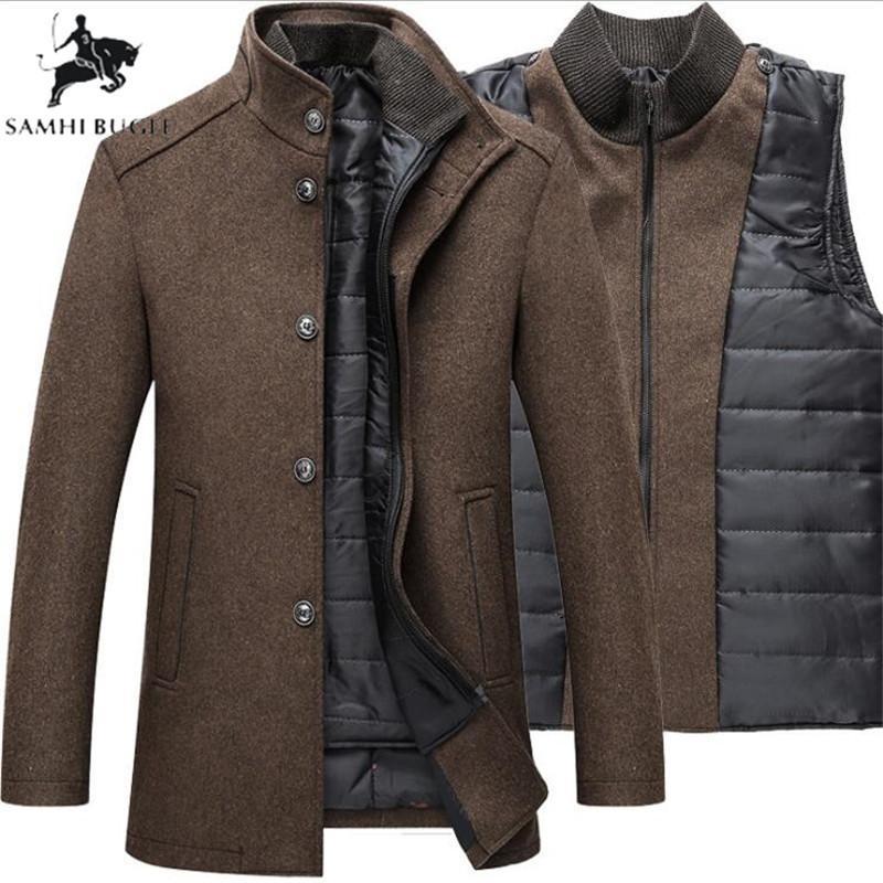 Lã quente casaco de inverno Homens Thick Overcoats Topcoat Mens Único Breasted Casacos e jaquetas com ajustável T200102 revestimento dos homens Vest