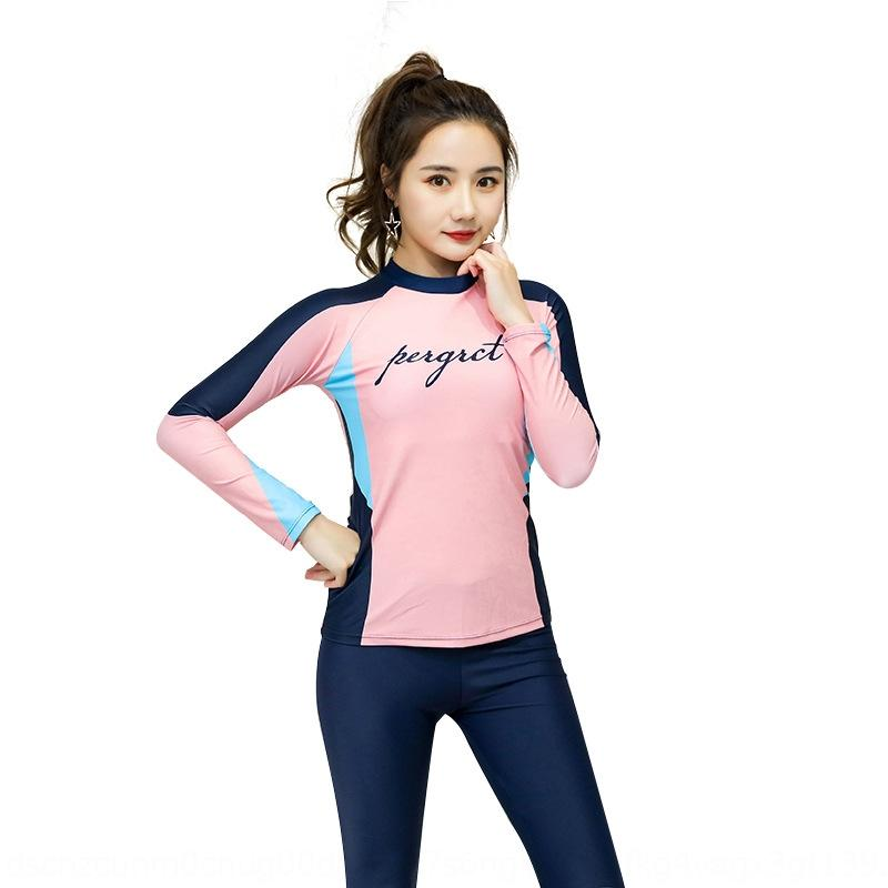 Long-sleeved sun-proof body-shaping Beach surfing shallow swimming swimsuit split two-piece sports casual swimsuit