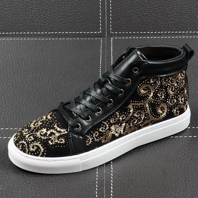 Neue Männer beiläufige Art und Weise Ankle Boots Frühlings-Herbst-Stickerei High Top Sneakers Freizeit männlich Kristall Trending Schuhe