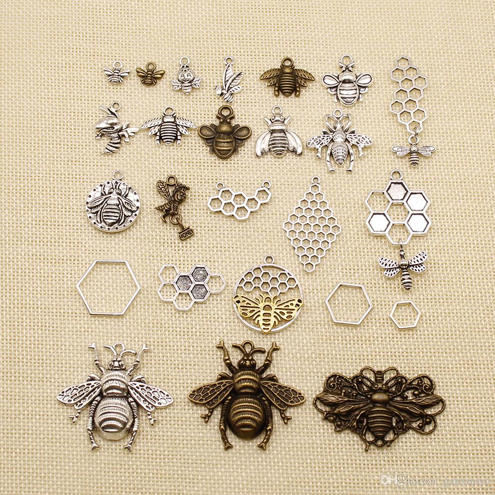 120 Pieces Charm For Making Jewelry Diy Animal Bee Honeycomb HJ043