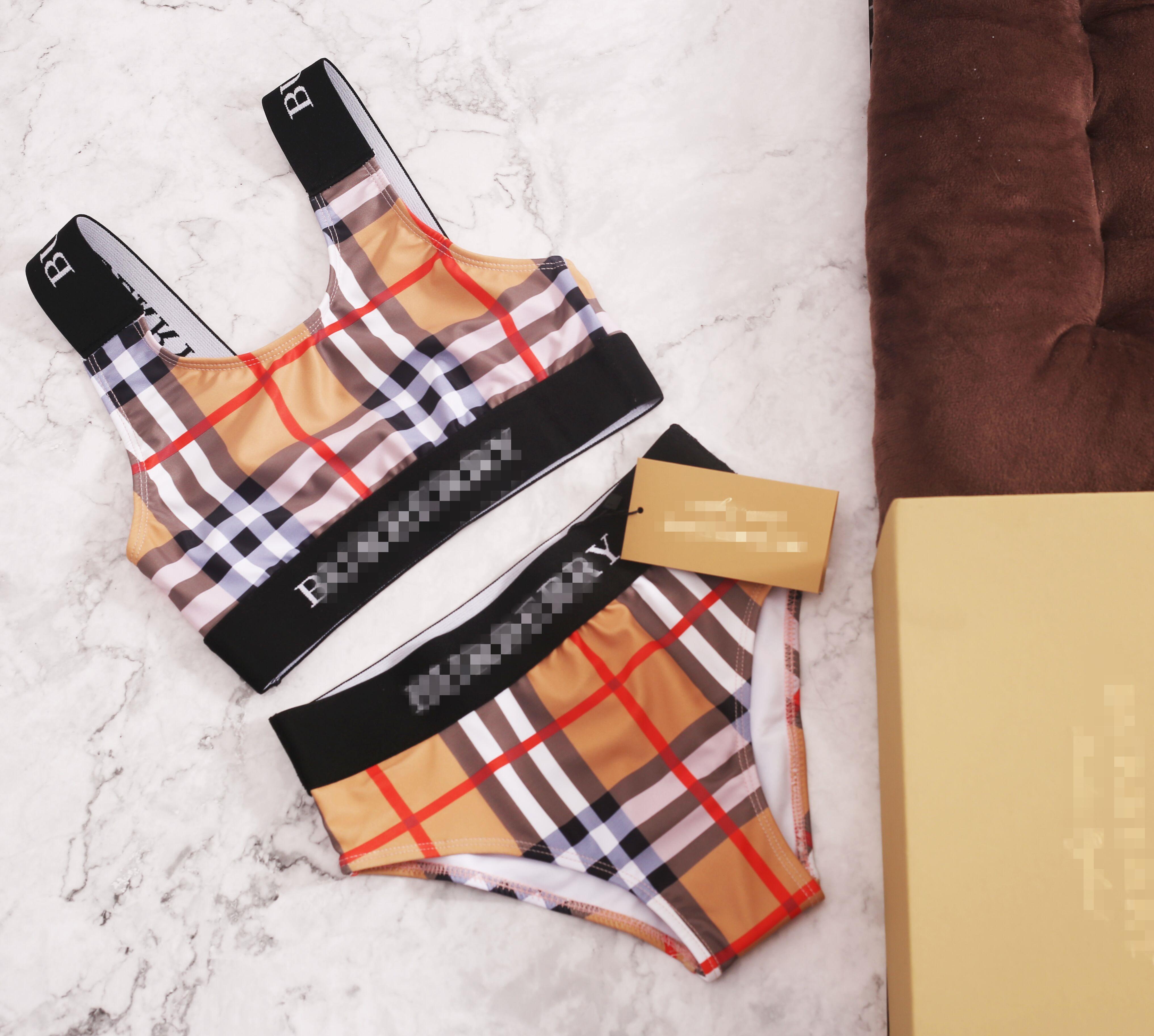 Новый модный бренд плед Детские купальники плавание девушки бикини набор из двух частей Baby Girls купальный детский костюм