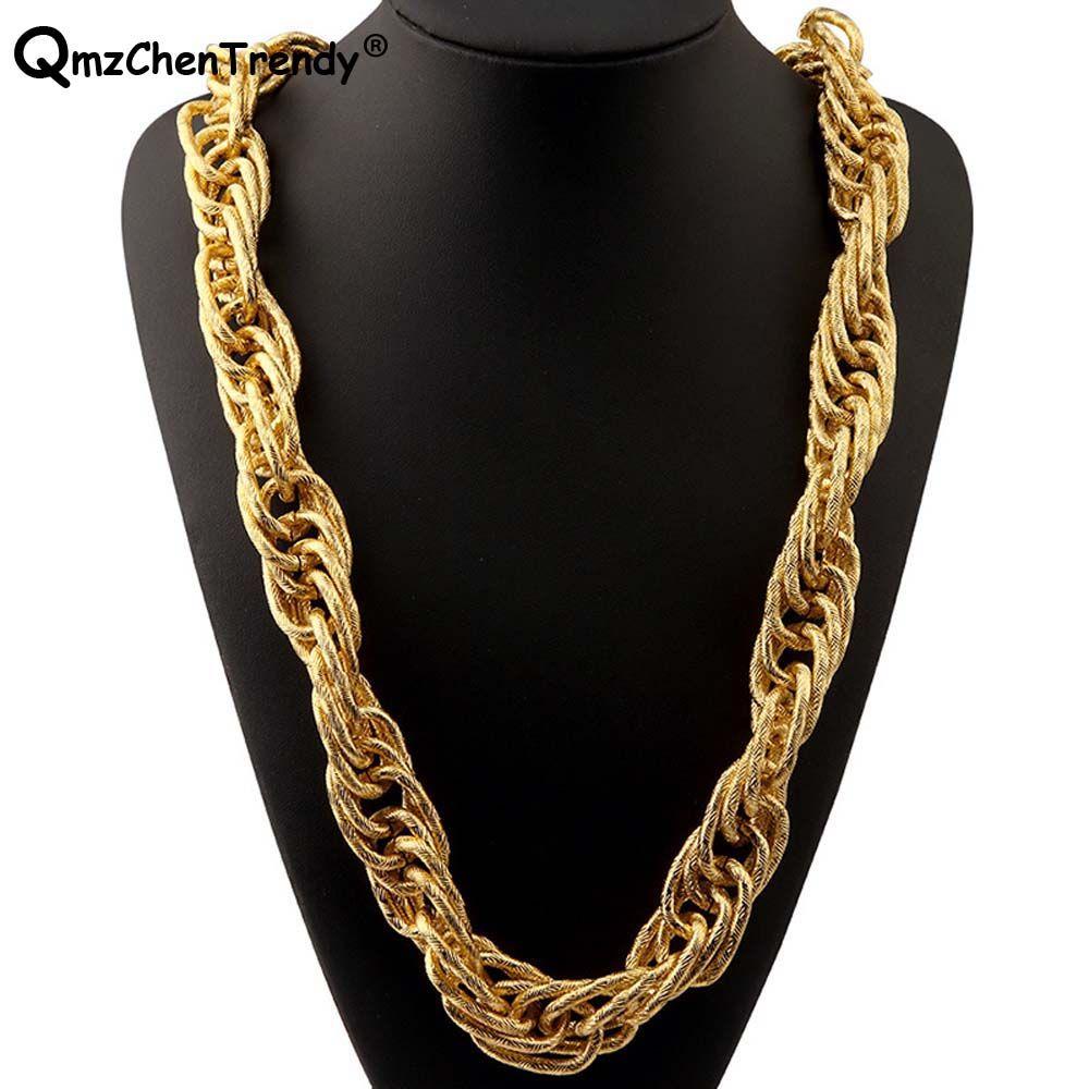 T Показать Stage 22мм Ширины 243g Супер Мужской Тяжелых Женщин Twist Rope цепь ожерелья Golden Silver Bling Hip Hop напыщенные ювелирные изделия