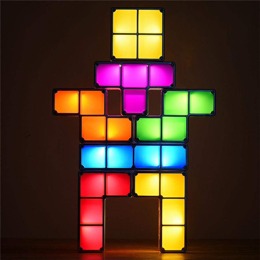 DIY TACTBIT Tetris Puzzle Light empilhável LED Desk Lamp constructible blocos de construção Night Light Retro Jogo Torre presentes do bebê tijolo colorida