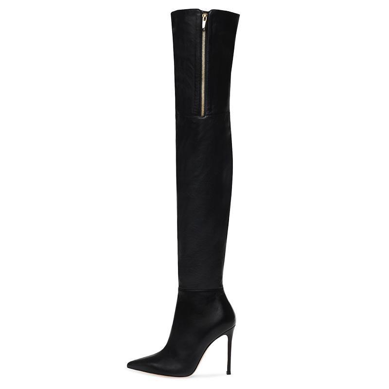 2019 nuevos zapatos de Europa y América Brand Negro PU Europa y América del atractivo de las señoras de punta-tacón alto del muslo botas de gran tamaño en el interior de la cremallera