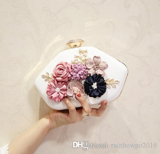custom brand package bohemian style chiffon flower hand bag fashion bottle shaped flower women dinner package Korean leather chain bag