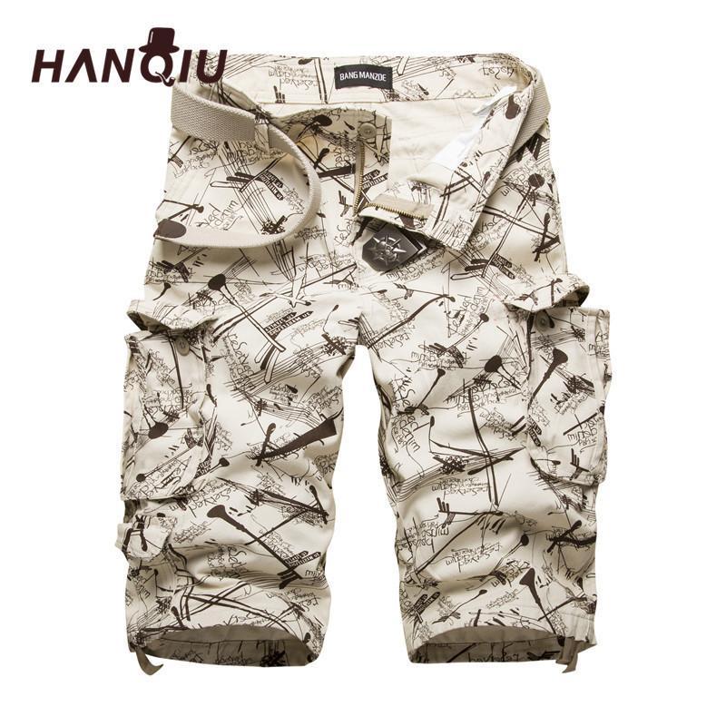 Hanqiu Algodón Para Hombre Pantalones cortos de carga Camuflaje Pantalones cortos para hombre Multibolsillo Camo informal al aire libre Tolling Homme Pantalones cortosQ190330