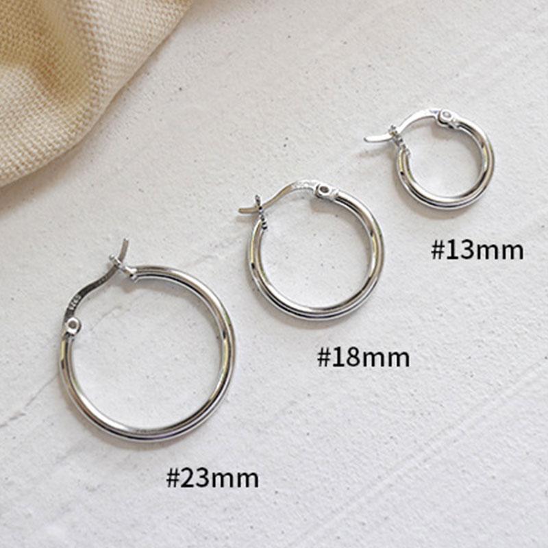 Pendientes Mujer Plata de Ley 925 Anillo Pendientes 3A Cubic zirconia Piercing Oreja 13MM