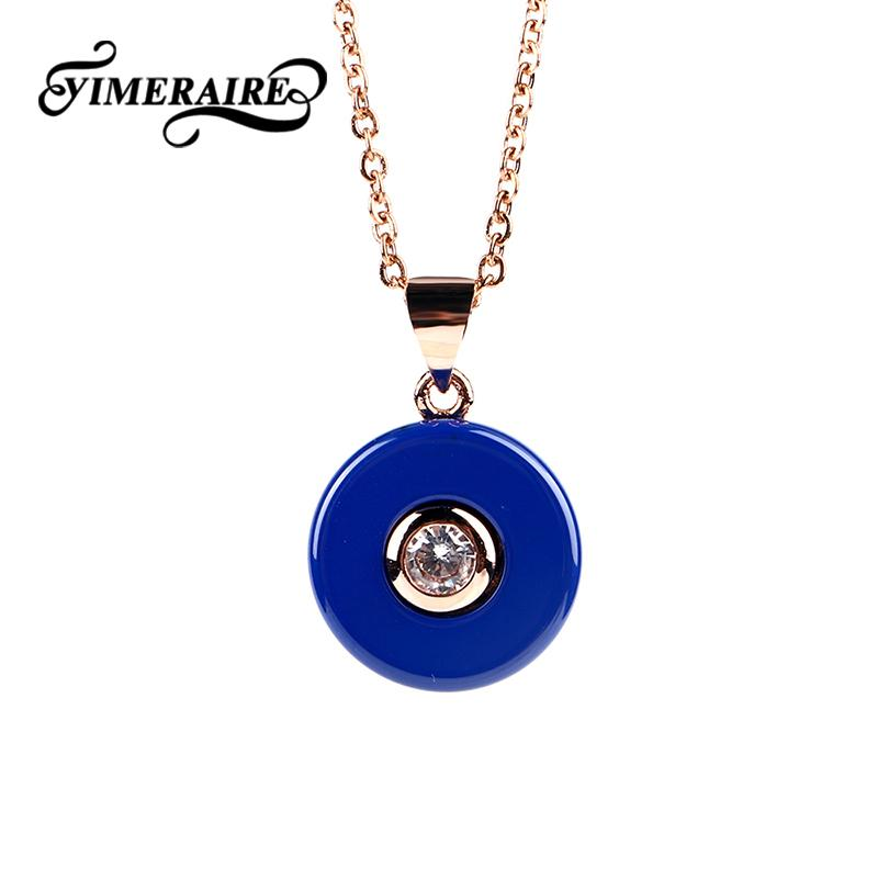 Navy Blue Necklace Pendant Women Smooth Round Circle Ceramic Necklaces With Sliver Rose Gold Long Chain & Crystal Jewelry Gifts