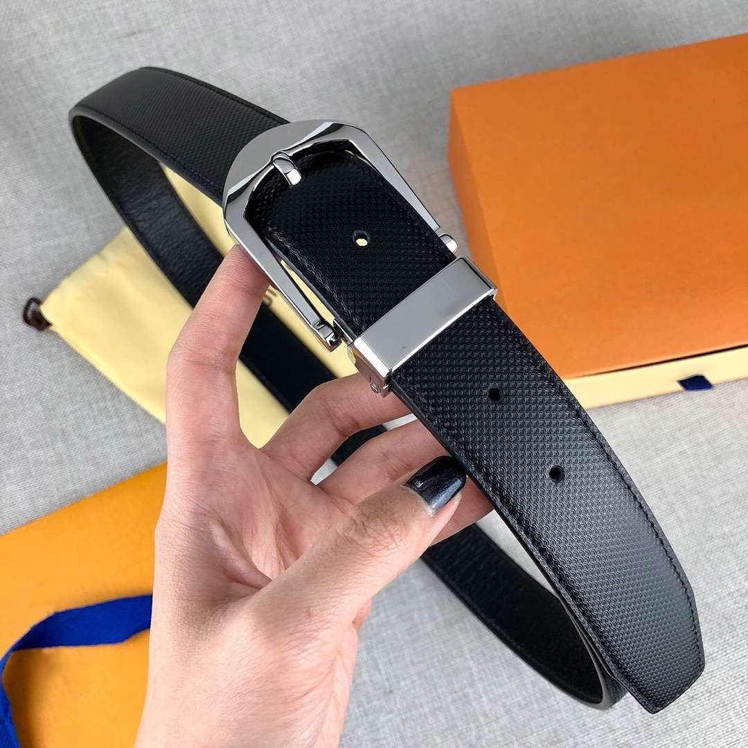 Aguja Cinturones de moda para hombre correa de cuero de la hebilla de la astilla de la aguja 34 mm Ancho de alta calidad con la caja
