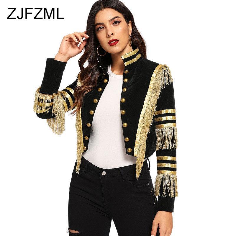 Moda Lady Fringe yamalı Metalik Çift Breasted Çizgili Siyah Gotik Ceket Kadınlar Sonbahar Yaka kırpılmış Ceket Kadınlar T200212 Standı