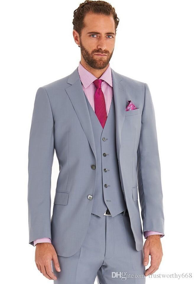 Popular Two Buttons Groomsmen Notch Lapel Groom Tuxedos Men Suits Wedding/Prom Best Man Blazer ( Jacket+Pants+Vest+Tie) 564
