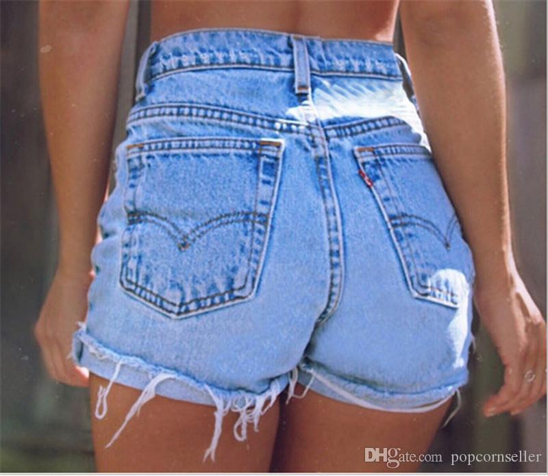 Высокая талия женщины Жан шорты Мода Ripped Fringe Манжеты Тонкий кисточка Шорты повседневные Новые женской одежды