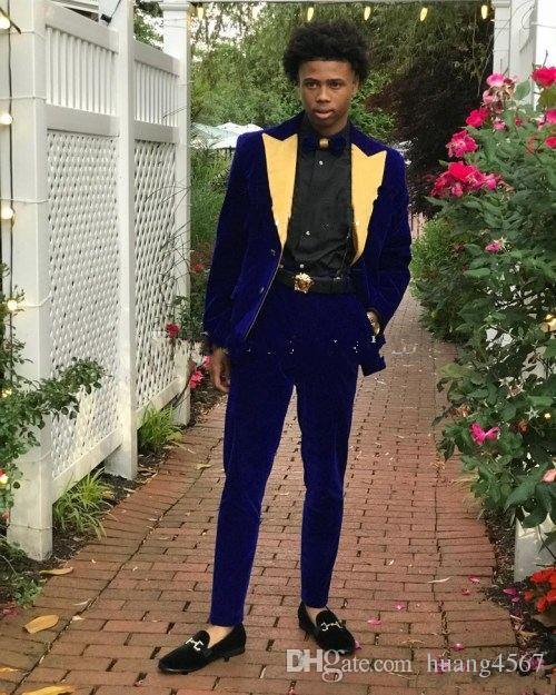 Nuovi popolari due pulsanti blu velluto sposo smoking oro picco risvolto slim fit uomini matrimonio abiti da uomo (giacca + pantaloni + cravatta) 044