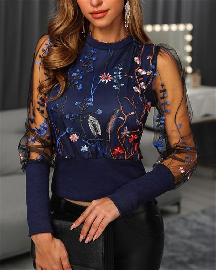Womens printemps Designer fleur brodée shirt imprimé Brochage maille à manches longues col rond T-shirt