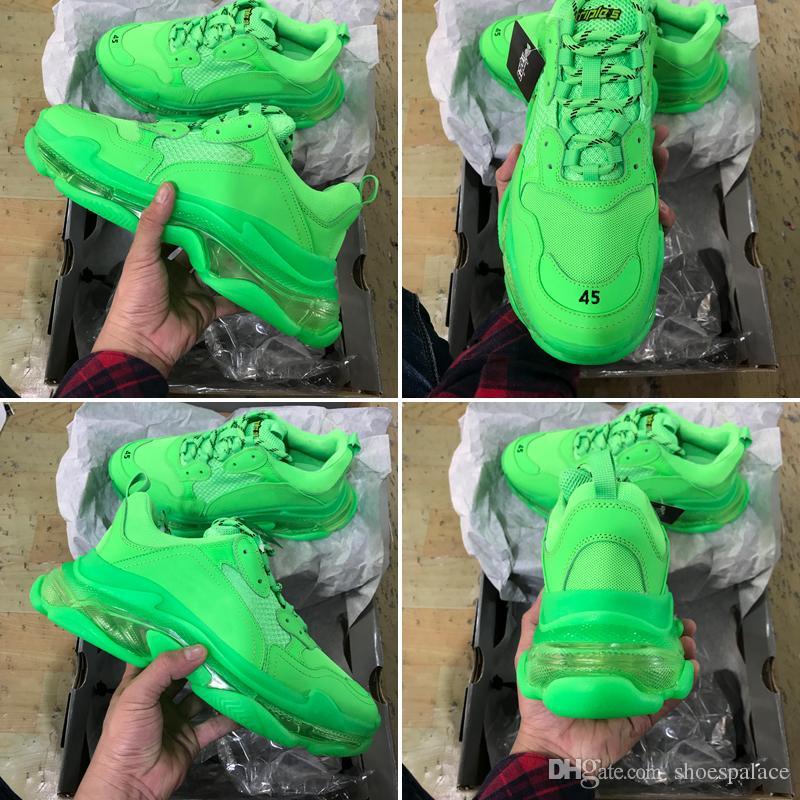 2020 Triple S Dad Chaussures mode meilleure qualité Triple-S Zapatos Plein Vert clair Sole Hommes Femmes Chaussures Casual Sport ETUI
