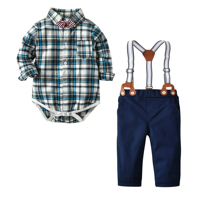 Fashion Boy Baby Four Piece Set Plaid Romper+tie+pant+straps Infant Suits Long Sleeve Toddler Gift for 3M-24M Baby Wear