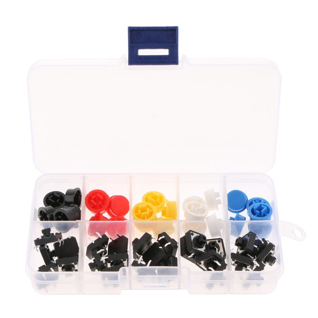 12 x 12 x 7.3mm Yuvarlak Konveks Tipi Inceliğini Dokunsal Düğmesi Anlık Anahtarı ve Cap (25pcs paket) AE1027