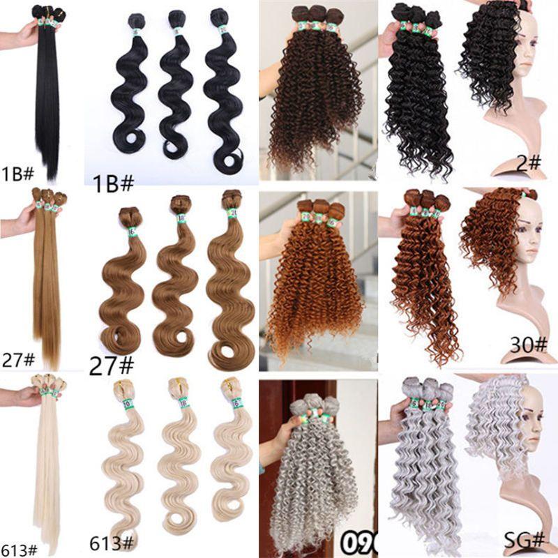 Alta qualidade tecer cabelo sedoso em linha reta ondulado onda profunda encaracolado Fibra natural cor 1B Alta Temperatura Cabelo Sintético trama Do Cabelo Extensão