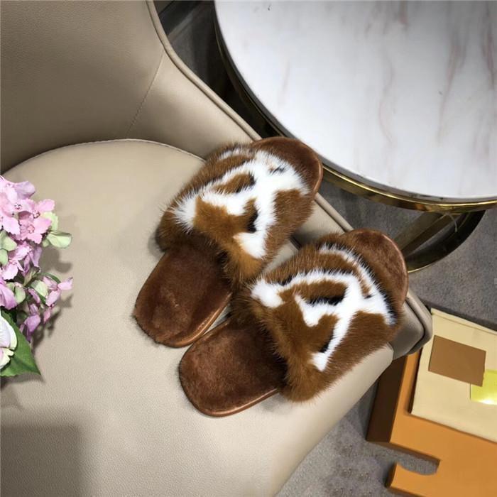 LouisVuitton LV Ограниченное издание полный норка дома и гостиничные тапочки Последние Легкие и комфортные подошв женщин Мягкий теплый меховой кожаные тапочки размер 35-42