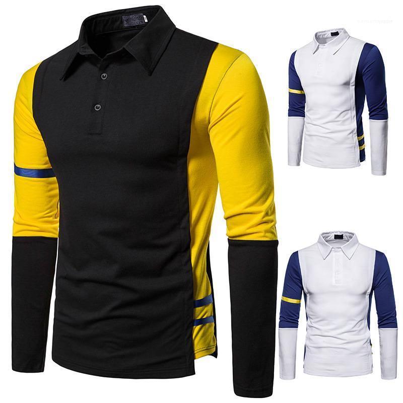 Para hombre de manga larga de cuello tops casuales para hombre de las camisetas del color del contraste para hombre Polo remiendo de la solapa