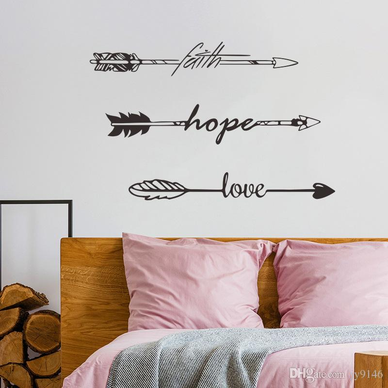 Faith Hope Love Wall Sticker Quotes Vinyl DIY Family Lettering and Words Wall Art Arrow Decals for Living Room Bedroom Decoration