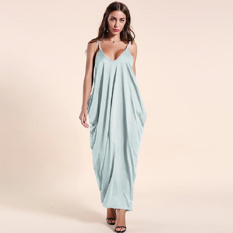 robe d'été sans manches Mode féminine Casual Robe droite à faible profondeur V bretelles poitrine solide femmes plage style surdimensionnées