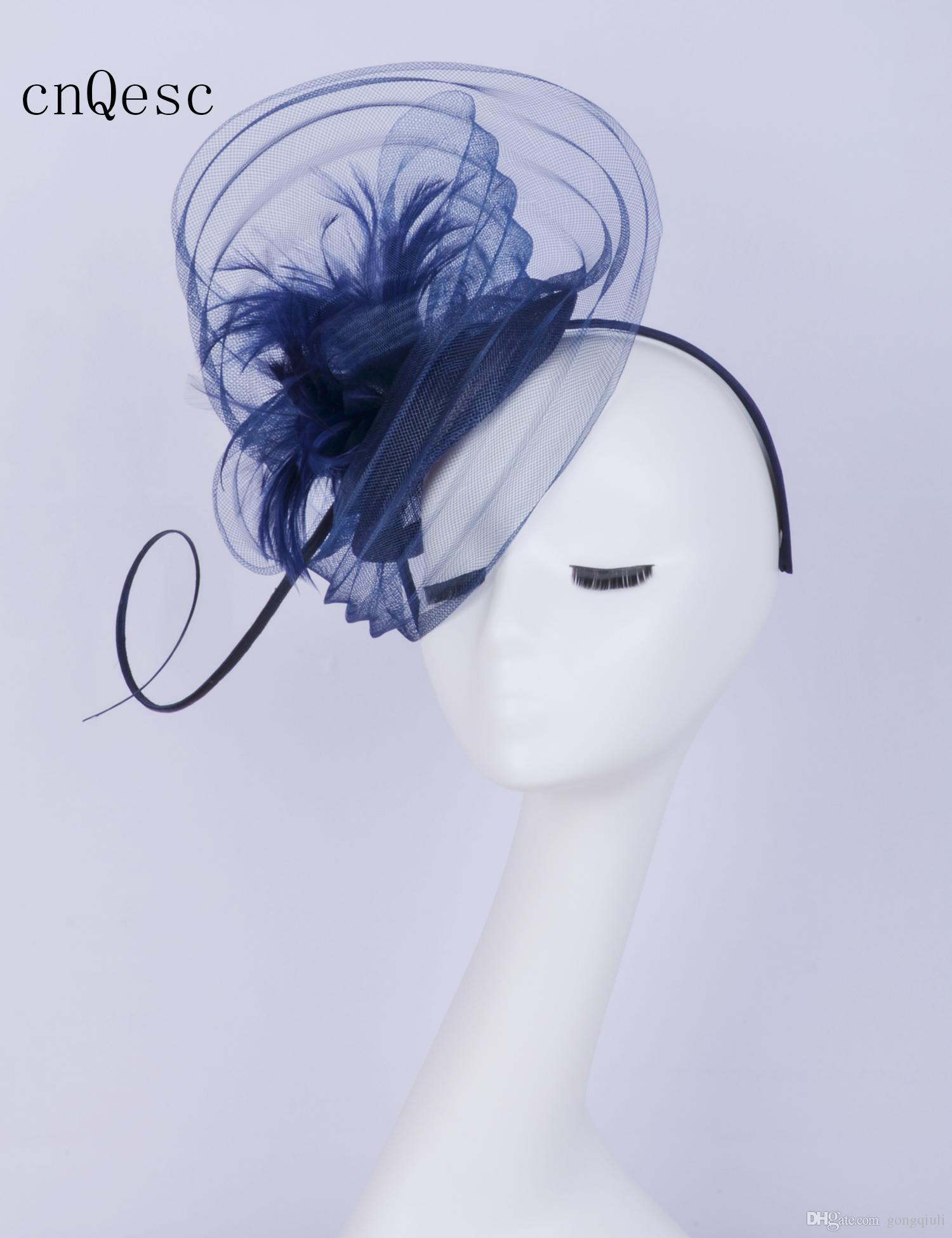 2019 Navy blue wave Crin fascinator cappello di piume fascinator da sposa sinamay base per ballo di fine anno gare kentucky derby