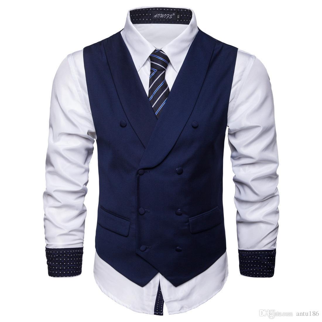 Sonbahar yeni erkek katı renk yelek erkek moda iş rahat yelek erkek eğilim takım elbise yelek desteği özel