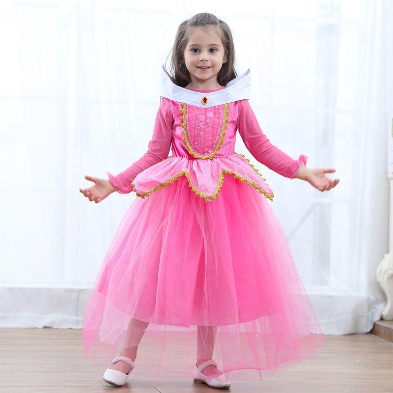 Girl/'s Cosplay Aurora Dress Sleeping Beauty Princess Costume Party Dresses 3-8Y