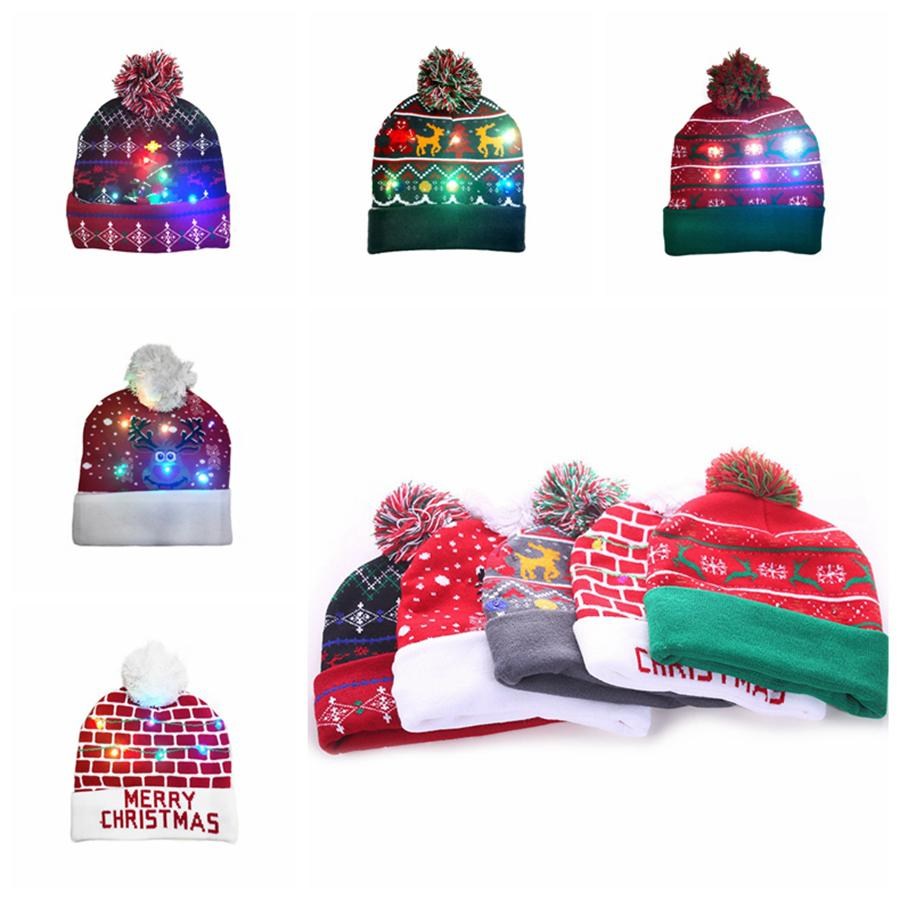 LED Christmas Knitting Hat Led Lighting Pom Beanie Kids Adult Snowflake Xmas Crochet Hats Lights Knitted Ball Cap Party Favor RRA2456