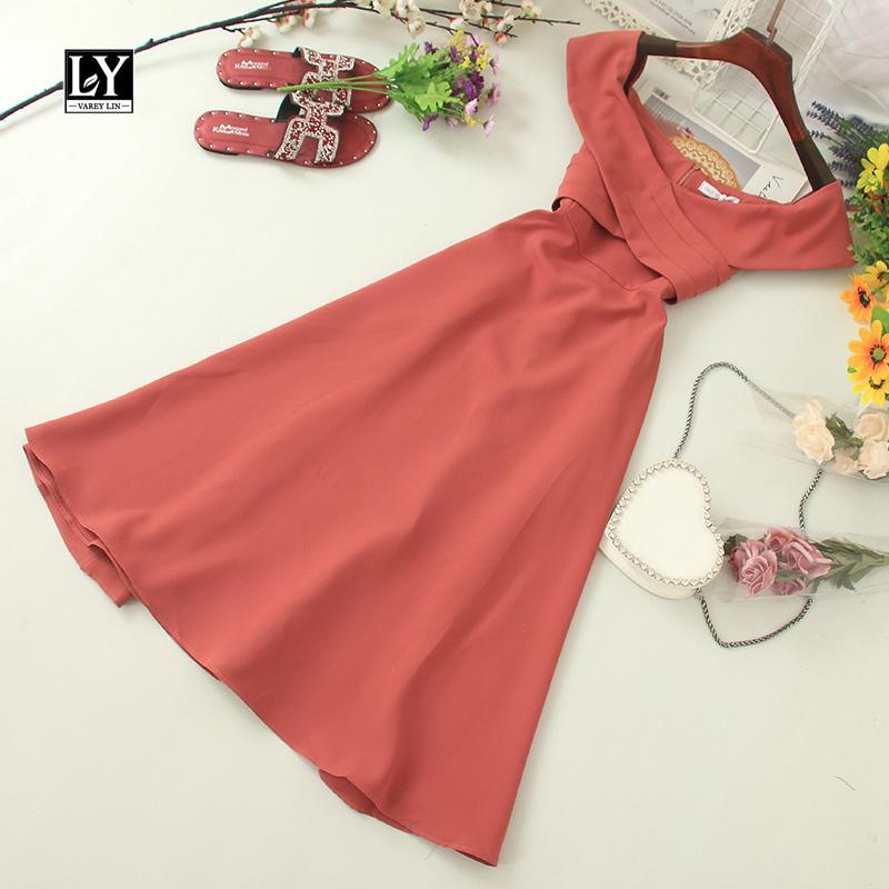 LY VAREY LIN New Summer Slash neck Off Shoulder Slim Dress Solid Sleeveless High Waist Medium Women Dress