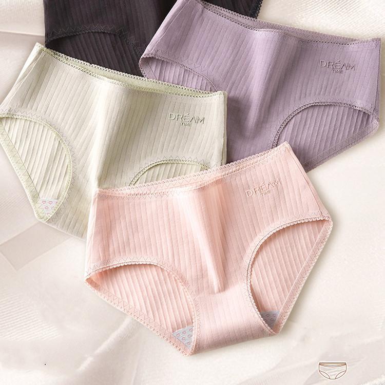 4pcs / lot respirant coton sans couture femmes Sous-vêtements mi-Rise Lace Filles Femmes Culottes Lingerie fine Y200425