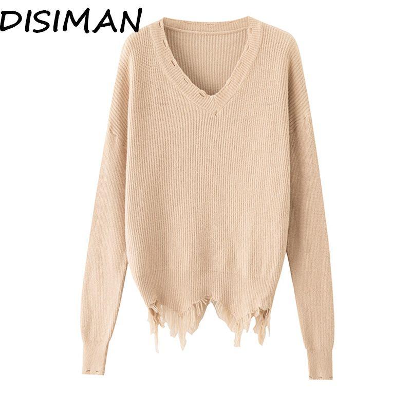 DISIMAN свитер женский розовый зимняя одежда женский пуловер корейский стиль негабаритный свитер с V-образным вырезом топы
