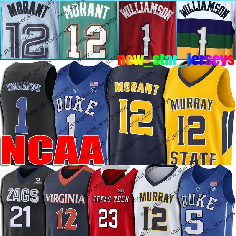 NCAA 12 Ja Morant Jersey Sion 1 Williamson maglie Deandre 12 Hunter Jersey Coby 0 White maglie 23 Jarrett Culver Dario 10 Garland