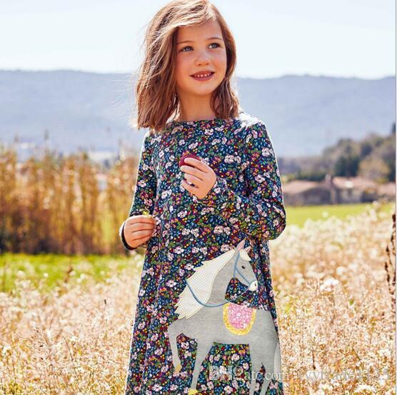 At ile Kız Bebek Giyim Elbise Yuvarlak Yaka Uzun Kollu Tam Çiçek Bahar Prenses Kız elbise Güz yazdır
