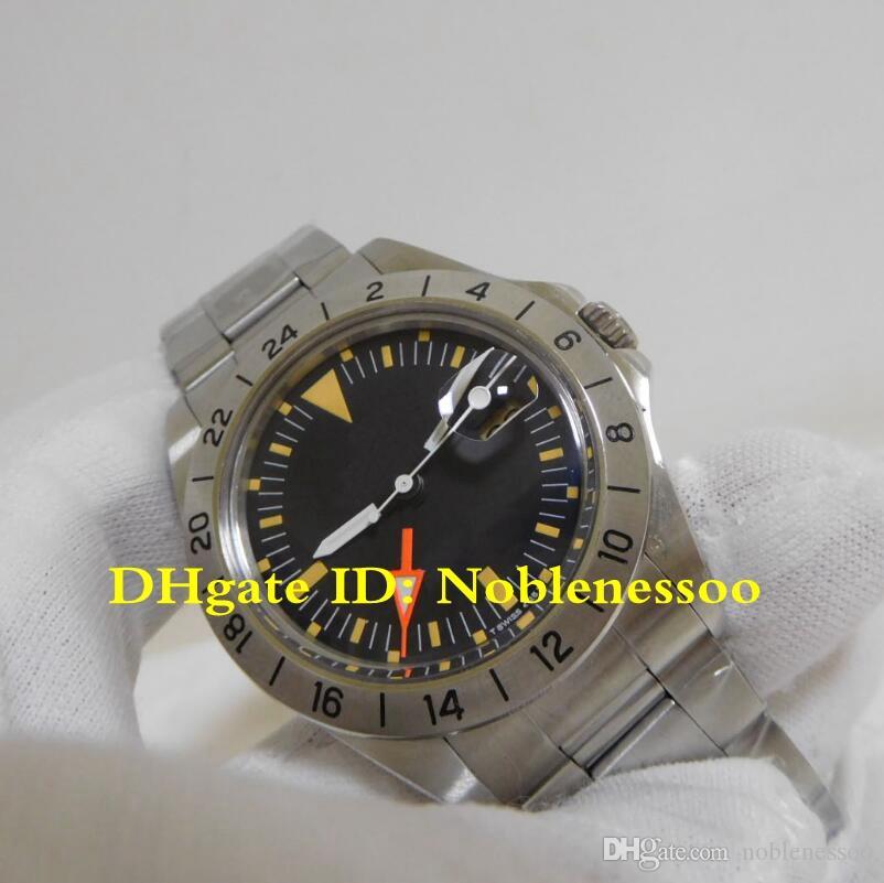 2 Couleurs Articles chauds Mens automatique Vintage Black Explorer II 1655 GMT 70's McQueen 1979 Edition R-GMT BP Factory 2813 Mouvement Montres