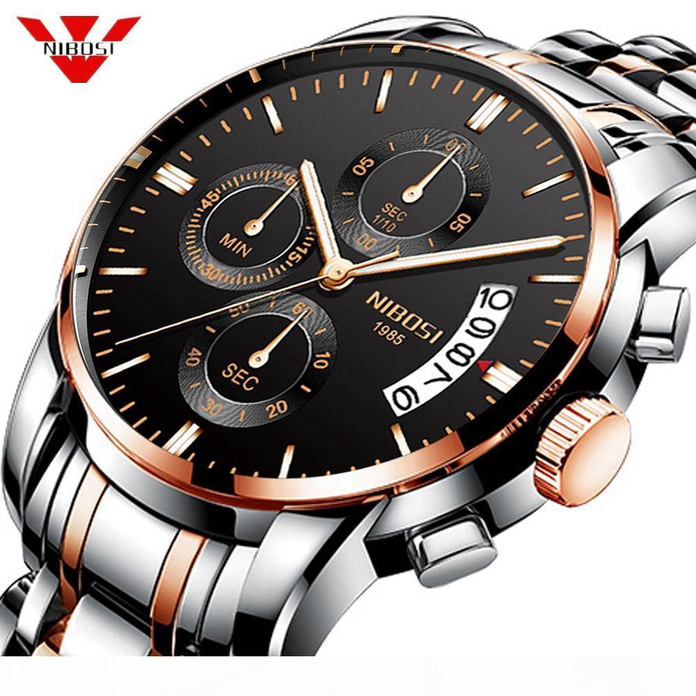 Relógio de pulso à prova d'água NIBOSI 2019 Nova inspeção Militares esporte relógio de quartzo Mens Relógios Top Marca de luxo Relogio Masculino