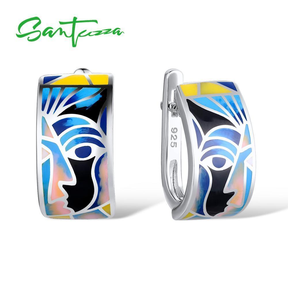 Santuzza Silver Earrings For Women 925 Sterling Silver Face Earrings Ladies Party Fashion Jewelry Colorful Enamel Handmade T7190617