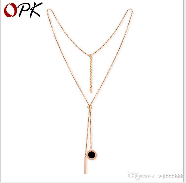 Roségold-Titanstahlhalskette Schwarze und weiße doppelseitige lange Halskette
