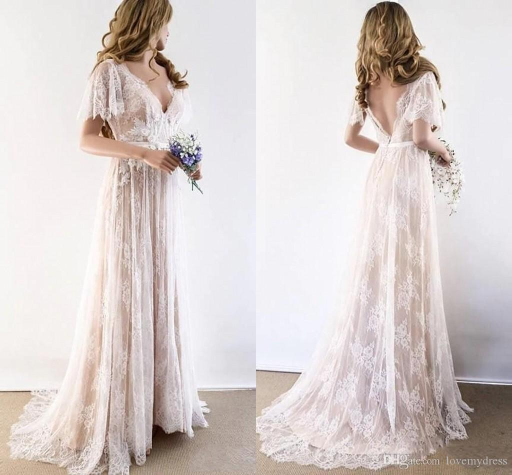 Boho Short Sleeves Lace Beach Wedding Dresses 2020 V-neck V Backless Empire Waist Bohemian Wedding Dress Bridal Gowns Reception Party Dress