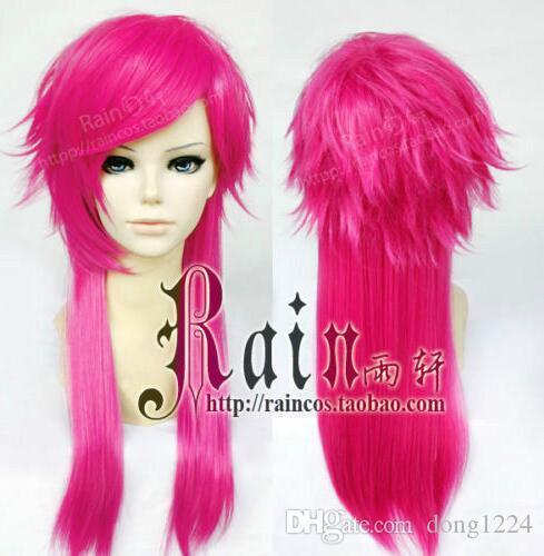 Envío libre el Piltover Enforcer Vi largo rosa roja LOL Liga de Leyendas Cosplay peluca del partido