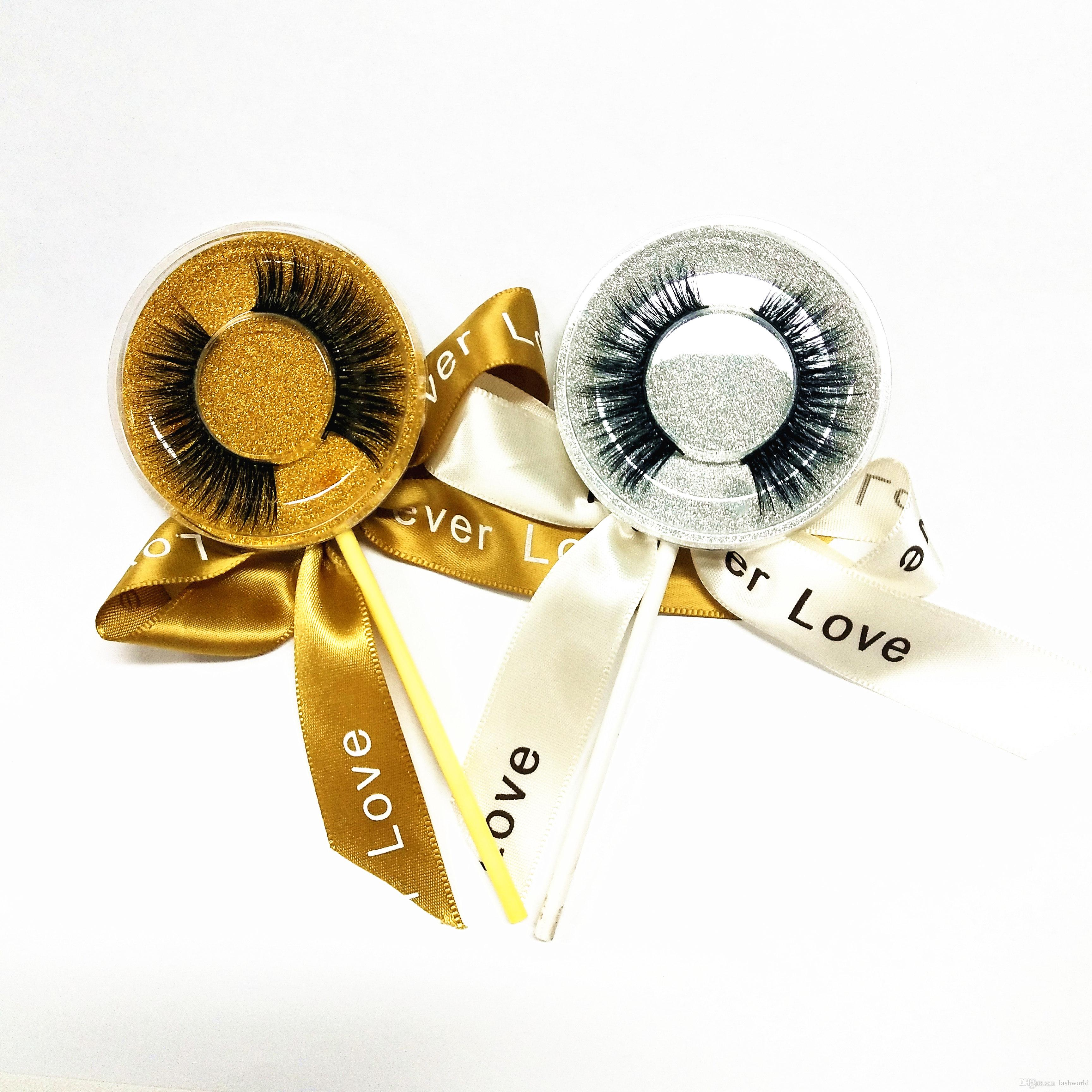 Lollipop Box Best Quality false eyelash 3D strip silk lashes thick fake faux eyelashes accept private label on stickers