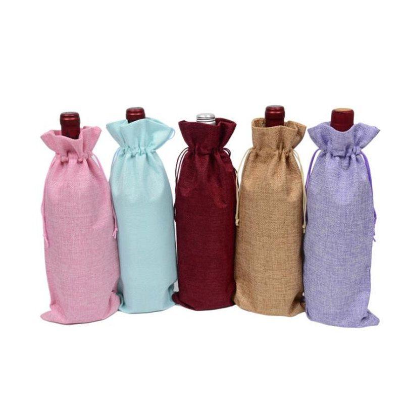 Flachs Kordelzugbeutel Multi Farben Weinflasche Taschen Geschenkbeutel mit Zugseil Aufbewahrungstaschen schnelles Verschiffen