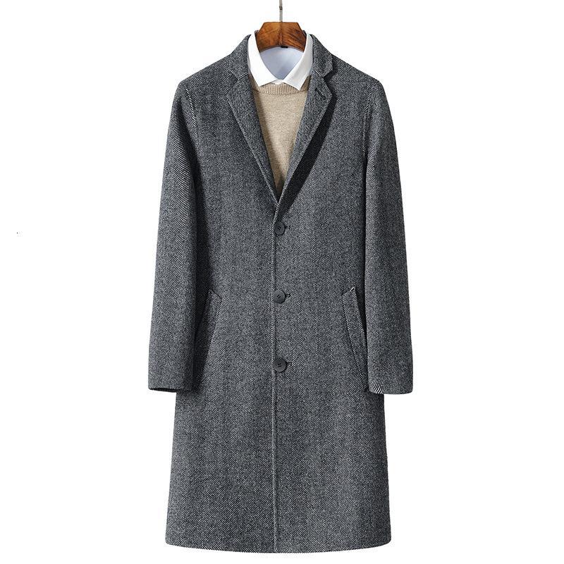ceket Erkekler tam boy M-3XL CJ191129 palto yün rüzgarlık siper 2017 sonbahar yeni Erkek yünlü ceketler
