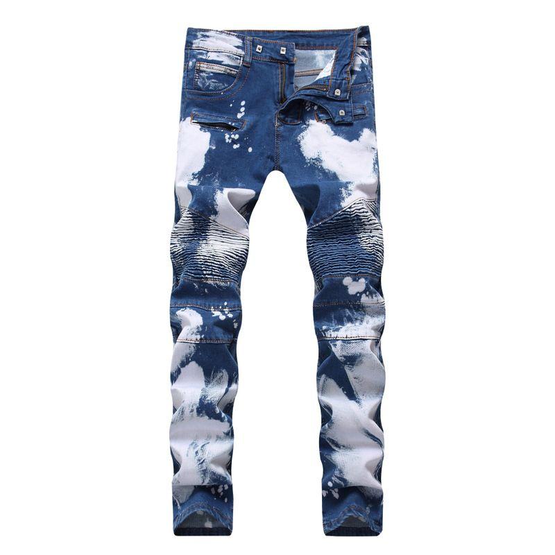 Moda de Nova Men Ciclismo jeans stretch Zipper Buraco Cor Duplo Hip Hop vestir branco calças jeans