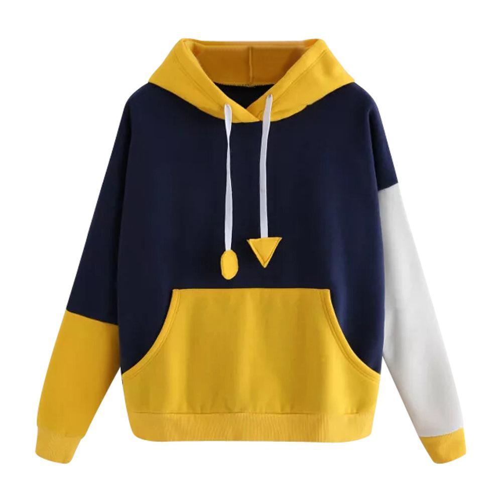 Hoodies for Women Misaky Autumn Winter Solid Color Long Sleeve Pullover Hood Tunic Sweatshirt Jumper Tops