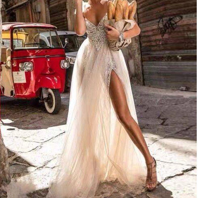 2020 مثير الزفاف السفر اللباس المناسب مزاجه الخامس الرقبة الأشرطة التقاط صور الفن الرجعية النبيلة فستان الزفاف الدانتيل