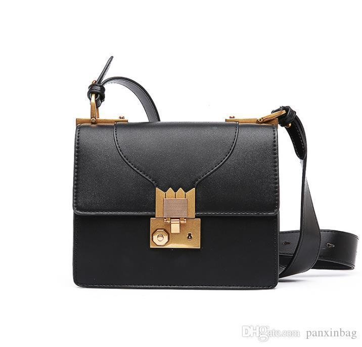 Lock small square Baonu 2019 new fashion single shoulder bag, 100 strap bag, PU lady bag organ bag