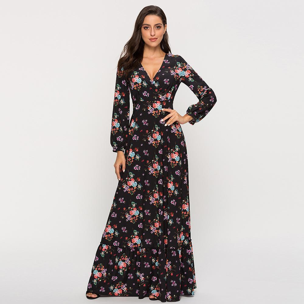 Günlük seksi V yaka ince plaj elbise Bohemian uzun elbise