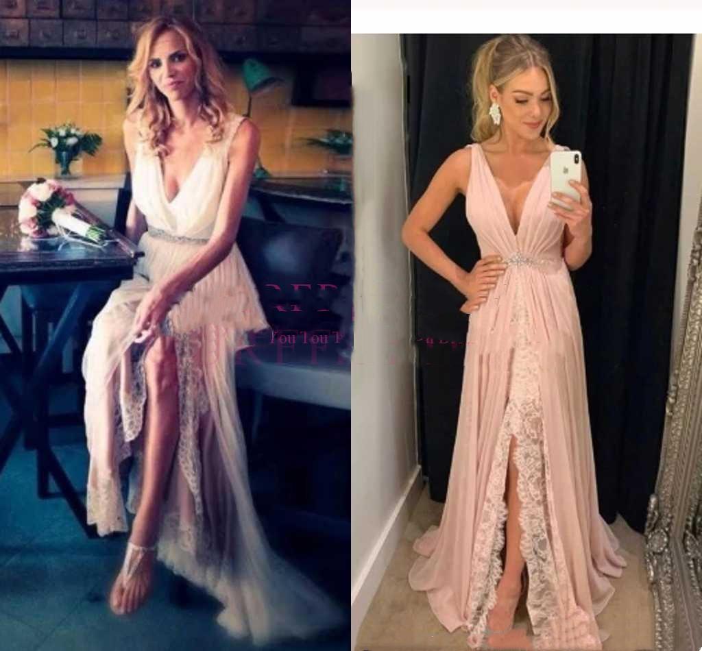 Lace chiffon anteriore Split White Beach Prom Dresses economici 2020 Chic Aline Rosa V-Neck Abito da sera